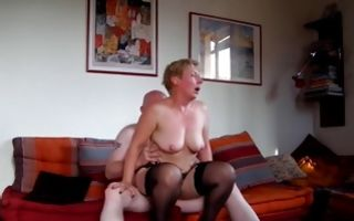 Hardcore pussy drilling of an old couple in lingerie in xxx video