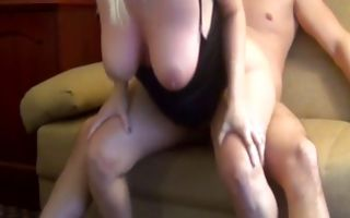 Nasty light-haired GF with big boobs insanely riding on dick