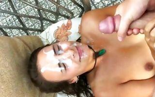 Slutty ex girlfriend takes bukkake facial cumshots in amateur porn