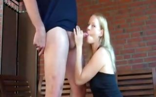 Nasty ex-girlfriend making blowjob before painful sex