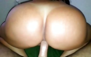 Naughty brunette milf with big tits gets asshole banged cowgirl