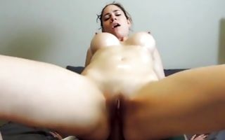 Tremendous girlfriend with big oiled booty has deep rough sex