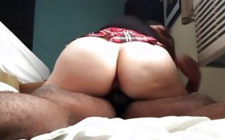 My GF with impressive big booty riding on heavy ramrod
