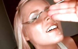 Nasty light-haired girlfriend sucking dick after insane sex