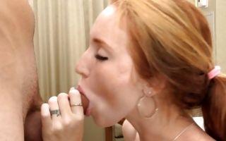 Cute young girlfriend Kayla has painful sex before blowjob