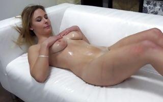 Stunning blonde GF Petra with oiled butt sucking pecker