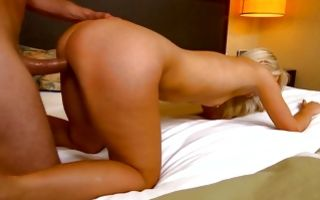 Rough deep sex on bed with stunning blonde girlfriend