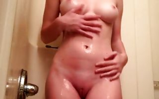 Fantastic naughty GF with round tits fingering juicy muff