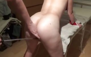 Naked babe with a giant ass gets slapped with a stick