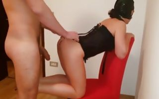Hot bitch on her high heels blowing his fat giant donger deep throat