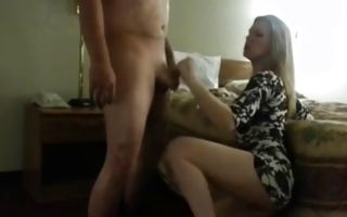 Hot bitch in her sexy dress gives him a blowjob and gets hammered
