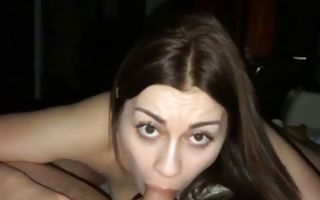 Hot brunette gives him a blowjob and than gets slammed doggy style
