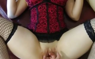 Hot chubby whore masturbating her pussy wearing sexy corsett