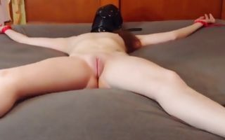 Tight up babe gets her pussy stimulated with a dildo
