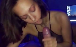 Teen babe swallowing a huge and tasty pecker