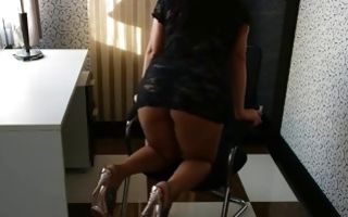 Office masturbating with a seductive young babe