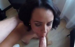 Sassy brunette swallowing cock and rides that pecker