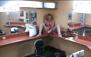 Cute blonde girlfriend from Brest fucks herself with a dildo
