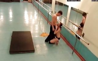 Young skinny brunette from Rostov sucks a dick instead of workout