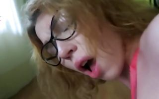 Cute brunette girlfriend in glasses gets fingered and sucks hard