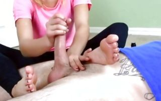 Blonde teen girlfriend fucks his dick with hands and feet