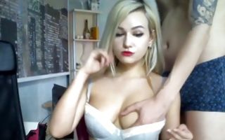 Blonde gf jerking his cock and getting fucked on webcam