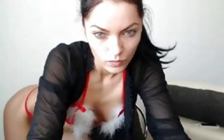 Slutty seductive brunette college girl gets pussy fingered in solo