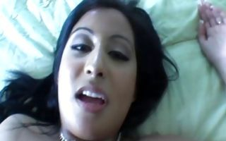 Sexy dark-haired GF Lena with big butt fucked in muff