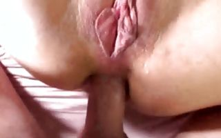 Naughty brunette with big tits gets doggystyle dicked and sucks