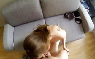 My gf Susen sucks my huge ramrod on her knees in amateur xxx video