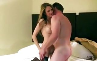 Bombshell in stockings gets mouth stuffed and fucked hard