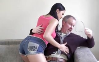 Awesome amateur chick deeply fucked by grandpa