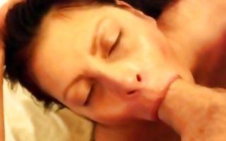 Milf brunette girlfriend sucks the whole monster cock