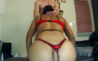 Gorgeous ebony brunette gives a blowjob on her knees