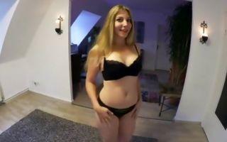 Naughty cute brunette girlfriend sucks in gorgeous underwear