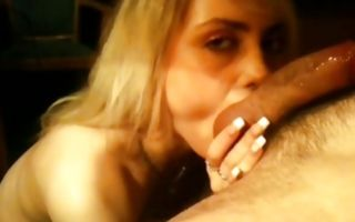 Horny blond fucks hard and gets face whole in cum