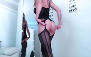 Horny blonde with fake tits gets orgasms in amateur solo